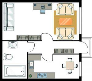Схема однокомнатная вариант 1 - план